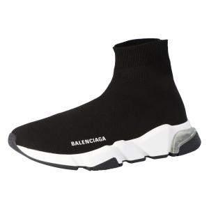 حذاء رياضي بالنسياغا نعل شفاف سبيد تريكو أسود مقاس 35