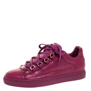 Balenciaga Pink Leather Arena Low Top Sneakers Size 36
