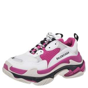 Balenciaga White/Pink Leather Triple S Low Top Sneaker Size 36