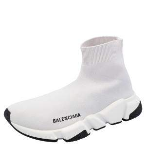 Balenciaga Beige/White Speed Clear Sole Sneakers Size 37