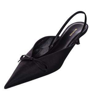Balenciaga Black Satin Knife Slingback Mules Size 36
