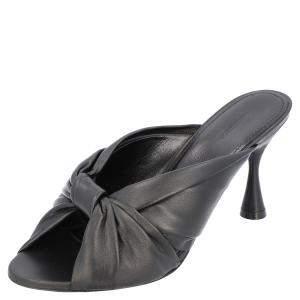 Balenciaga Black Leather Drapy Knotted Mules Size EU 39