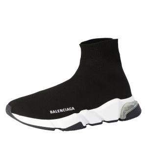 Balenciaga Black Knit Speed Clear Sole Sneakers Size EU 35