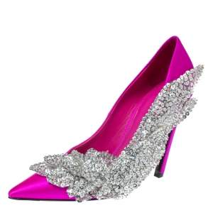 Balenciaga Pink Satin Crystal Embellished Pumps Size 39