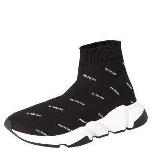 Balenciaga Black Knit Speed logo Sock Sneakers Size EU 38