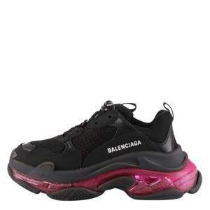 Balenciaga Black/PinkTriple S Clear Sole Sneakers Size EU 40