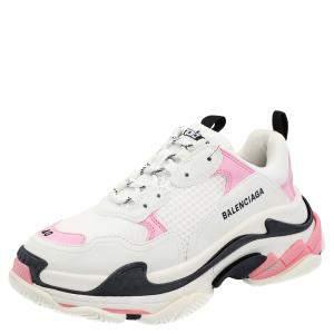 Balenciaga White/Pink/Black Triple S Sneakers Size EU 41