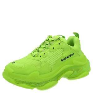 Balenciaga Neon Green Triple S Clear Sole Sneakers Size EU 34