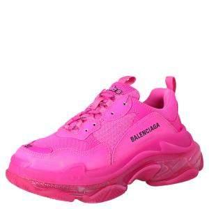 Balenciaga Pink Triple S Clear Sole Sneakers Size EU 35