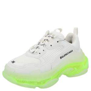 Balenciaga White/Neon Green Triple S Clear Sole Sneakers Size EU 34