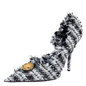 Balenciaga Black/White Tweed D'orsay Pump Size 39