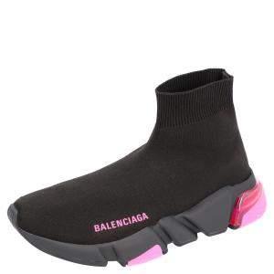 Balenciaga Black/Pink Speed Sock Clearsole Sneakers Size EU 38
