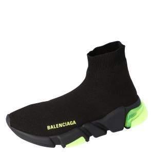 Balenciaga Black/Green Speed Sock Clearsole Sneakers Size EU 40