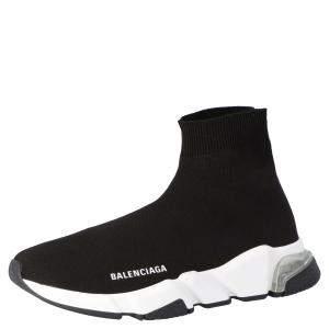 Balenciaga Black/White Speed Clearsole Sneakers Size EU 36