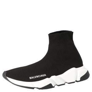 Balenciaga Black/White Speed Clear Sole Sneaker Size EU 37