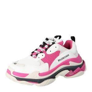 Balenciaga White/Pink Triple S Sneaker Size EU 38