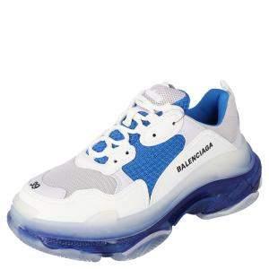 Balenciaga White/Blue Triple S Clear Sole Sneakers Size EU 41