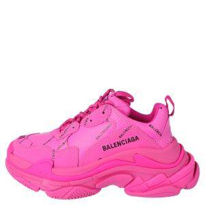 Balenciaga Pink 'All Over Logo' Triple S Sneakers Size 36