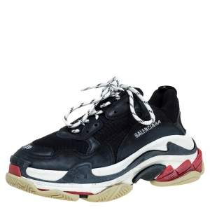 Balenciaga Black Leather And Mesh Triple S Sneakers Size 39