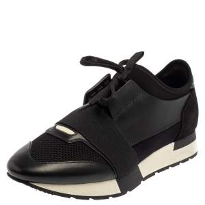 Balenciaga Black Leather And Mesh Race Runner Sneakers Size 40