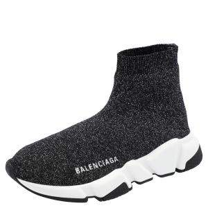 Balenciaga Black Knit Speed Sneakers Size EU 37
