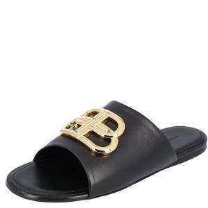 Balenciaga Black Leather Oval BB logo-embellished Slides Size EU 39.5
