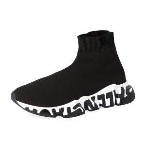 Balenciaga Black Speed Graffiti Trainers Sneakers Size EU 35