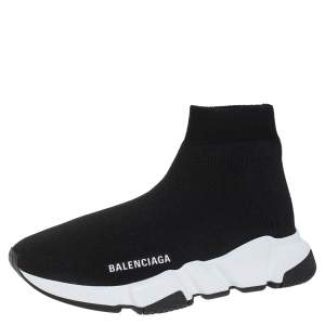 Balenciaga Black Knit Fabric Speed Sneaker Size EU 37