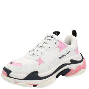 Balenciaga White/Pink Leather and Mesh Triple S Platform Sneakers Size EU 36