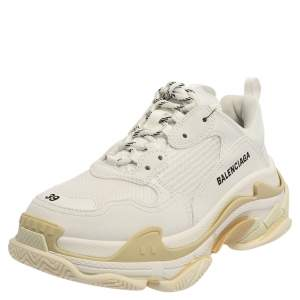 Balenciaga White Mesh And Leather Triple S Low Top Sneakers Size 39