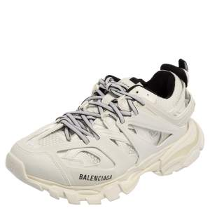 Balenciaga White Mesh And Leather Track Low Top Sneakers 39
