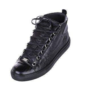 Balenciaga Black Leather Classic Arena High Top Sneaker