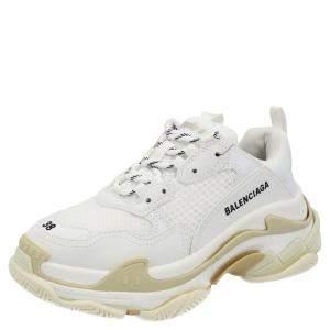 Balenciaga White Faux Leather Triple S Sneakers Size EU 35
