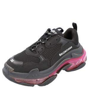 Balenciaga Black/Pink Triple S Clear Sole Sneakers Size EU 37