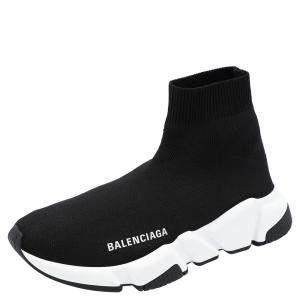 Balenciaga Black/White Speed Sneakers Size EU 38