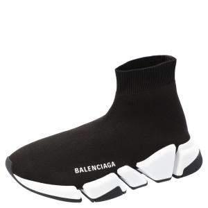 Balenciaga Black Knit Speed.2 Sneakers Size EU 38