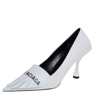 Balenciaga White Leather Fringe Knife Pumps Size 39