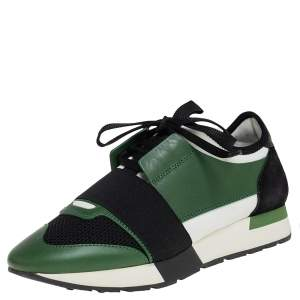 Balenciaga Black/Green Mesh And Leather Race Runner Low Top Sneakers Size 38