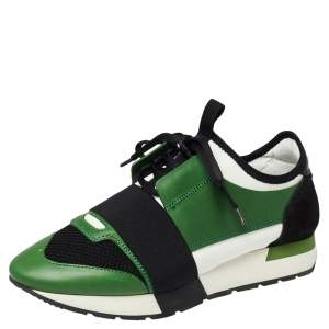 Balenciaga Green/Black Leather And Mesh Race Runner Low Top Sneakers Size 38