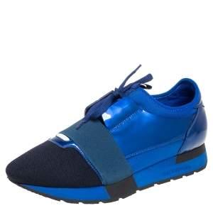حذاء رياضي بالنسياغا ريس رانر قماش تريكو وجلد لامع أزرق/أسود عنق منخفض مقاس 39