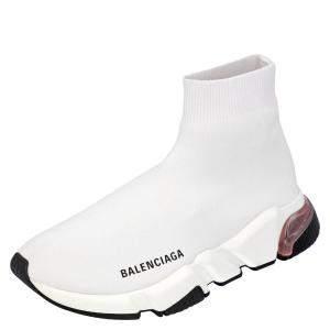 Balenciaga White Knit Speed Clear Sole Sneakers Size EU 36