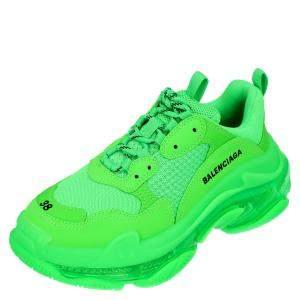 Balenciaga Women Bright Green Leather And Mesh Triple S Sneakers Size EU 41