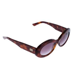 Balenciaga Brown tortoise BA 145 Oval Sunglasses