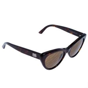 Balenciaga Brown Tortoise BA 143 Logomania Cat Eye Sunglasses