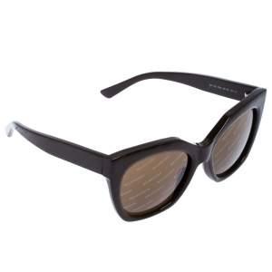 Balenciaga Brown Diagonal Logo Print Cat Eye Sunglasses
