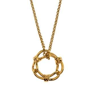 Balenciaga Continuity Bow Round Pendant Gold Tone Necklace