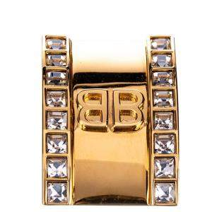 Balenciaga  Gold Tone Logo Clip Ear Cuff