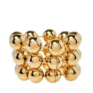 Balenciaga Gold Tone Triple Ball Layered Link Bracelet S