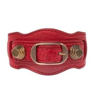 Balenciaga Red Leather Arena Giant Studded Rose Gold Tone Bracelet