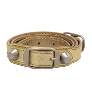 Balenciaga Metallic Gold Leather Triple Tour Arena Bracelet M